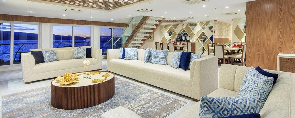 Galapagos Cruise Elite Catamaran Main Deck Lounge Area