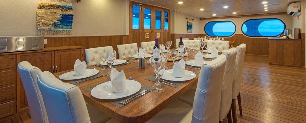Galapagos Cruise Tip Top II Catamaran Dining Area