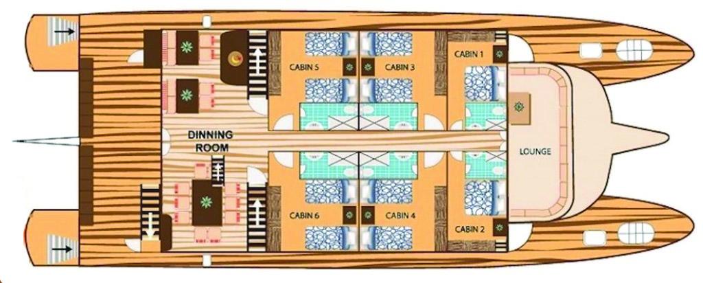 Galapagos Cruise Tip Top II Catamaran Main Deck