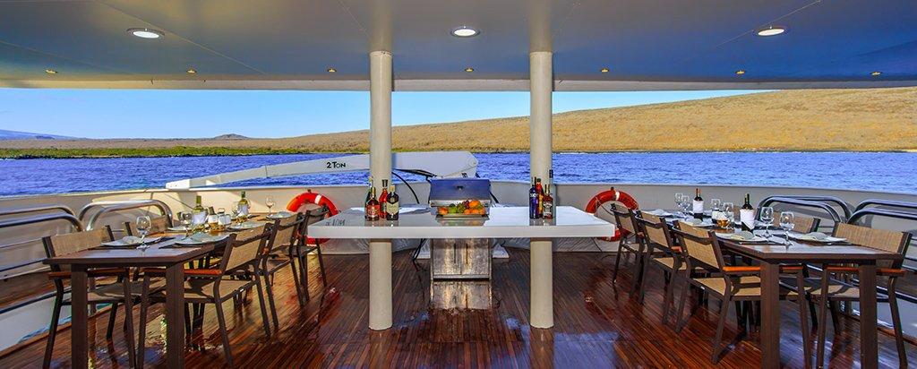 Galapagos Cruise Treasure Catamaran Al Fresco Dining Area