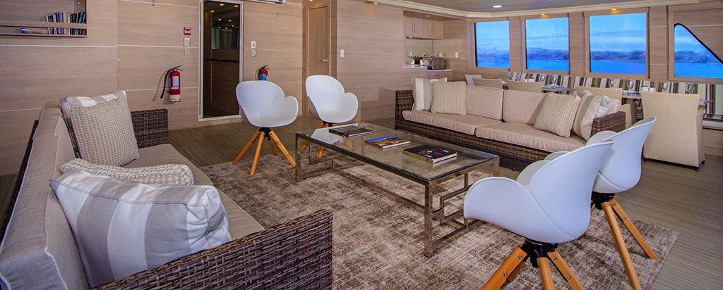 Galapagos Cruise Treasure Catamaran Main Deck Lounge