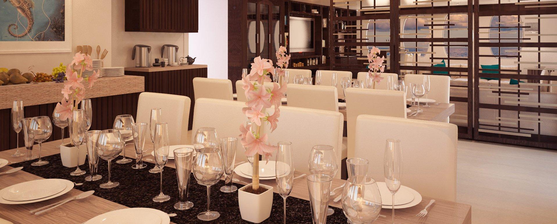 Alya Catamaran balcony dining