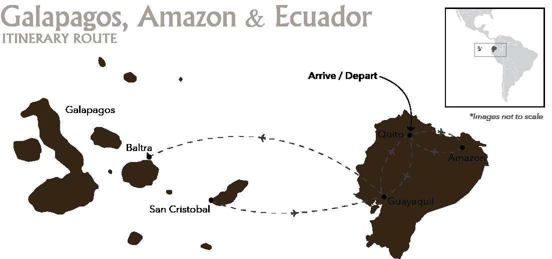 10D Wildlife Odyssey Galapagos, Ecuador & Amazon Itinerary Route SCY