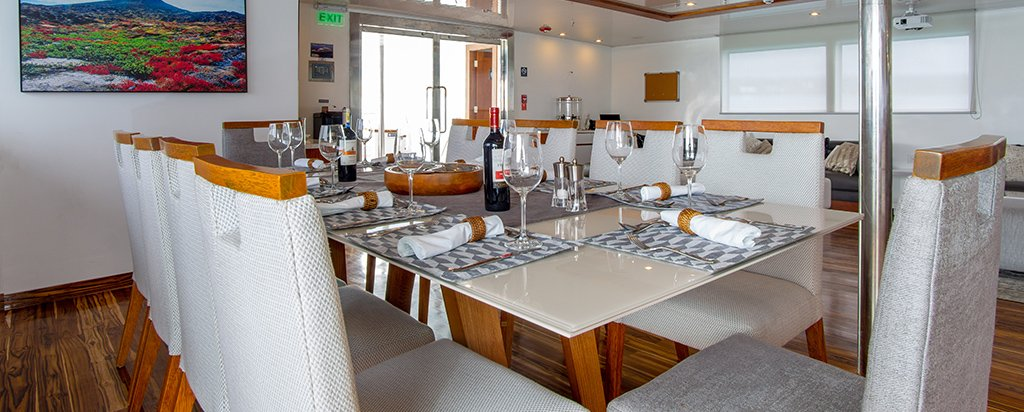 Galapagos Cruise Infinity Yacht Dining Area