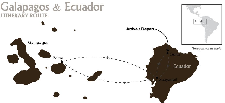 Galapagos & Ecuador Quito Baltra Itinerary Route